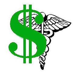 Dollar sign and health symbol