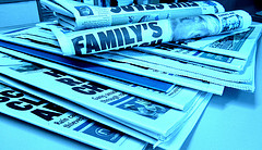 newspapers in blue