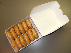 box of Krispie Kreme doughnuts