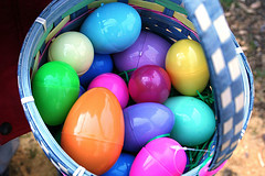 plastic eggs in basket