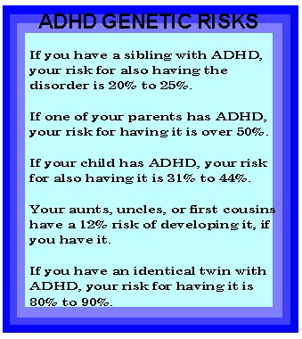 genetic inheritance of adhd Attention-deficit hyperactivity disorder (adhd) or hyperkinetic disorder (hkd) is acknowledged to have an underlying genetic component 1,2 pooled data from 20 twin studies estimated the mean heritability of adhd to be 76% (study data from the united states, the european union, scandinavia and australia) 3.