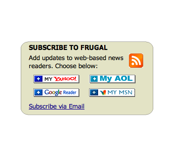 Subscribe to the Frugal Blog